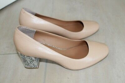 4304680edd53 Display CALVIN KLEIN CIRILLA Wedge Leather High Heel Dress Pumps Size 6.5 M  Nude