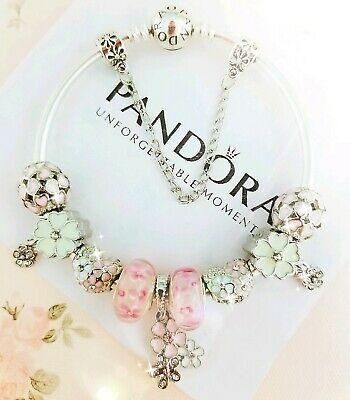 "Authentic Pandora Bracelet Silver Bangle with ""Pink Flower"" European Charms"