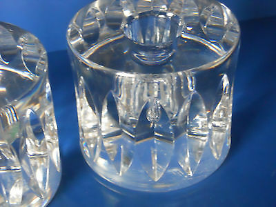"Orrefors - Sweden SET OF 2 Signed Crystal Clear Candle Holders  2 1/2"" H x 3"" W"
