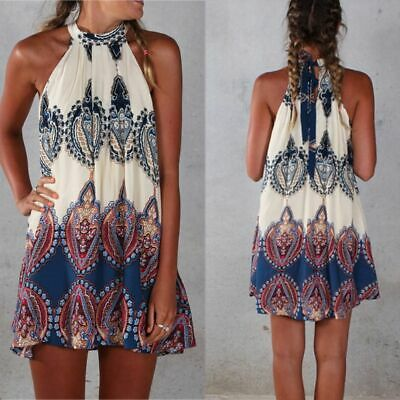 Sexy Boho Style Summer Women Cocktail Mini Party Wear Short Dress Sleeveless
