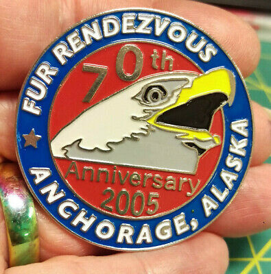 2005 Anchorage Alaska Fur Rondy Rendezvous LARGE Collector Pin 70th Anniv EAGLE