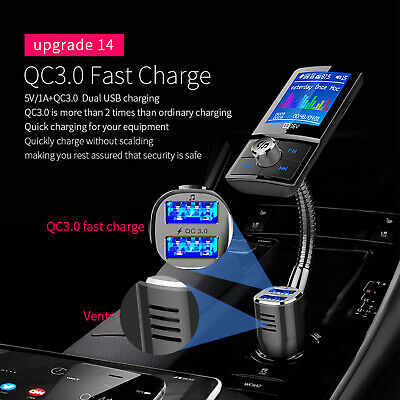Bluetooth Car Kit FM Transmitter Aux QC3.0 Fast Charge Dual USB LCD Upgrade A2DP