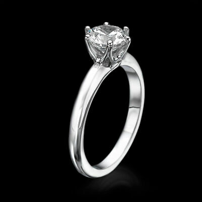Solitaire 14K White Gold Round Cut Enhanced Diamond Engagement Ring 1.25 CT F/SI