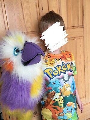 The Puppet Company Cockatiel Purple White Yellow Long Hand Puppet Squeaks Tag