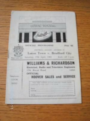 27/04/1968 Luton Town v Bradford City  (Creased, Folded & Writing On Back). No o