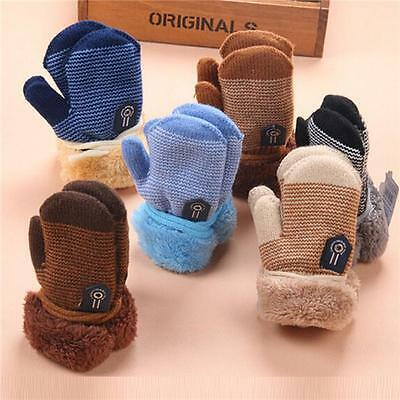 Toddlers Baby Kids knitting Gloves Snow Flower Winter Warm Mittens On String DS