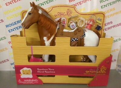 Our Generation Trail Riding Appaloosa Horse w. Accessories NEW Box Torn/Creased