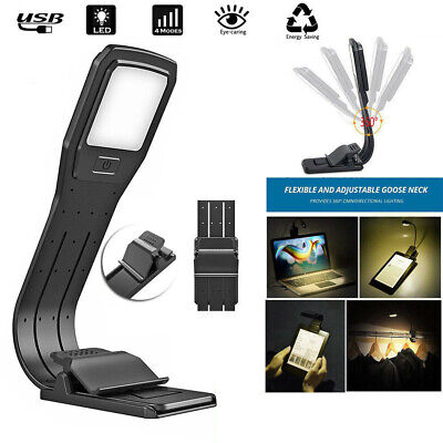 LED Reading Book Light With Detachable Flexible Clip USB Rechargeable Lamps