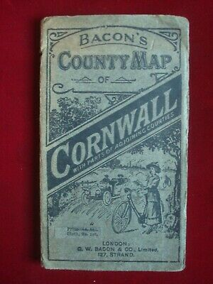 BACON'S COUNTY CYCLING MAP of CORNWALL