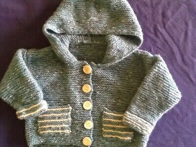 hand k itted girls coat in dusty green/blue for 1-2 years 41