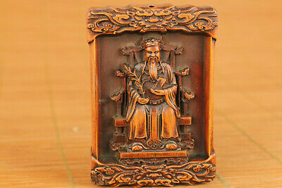 chinese old boxwood handmade god of wealthy buddha statue netsuke collectable