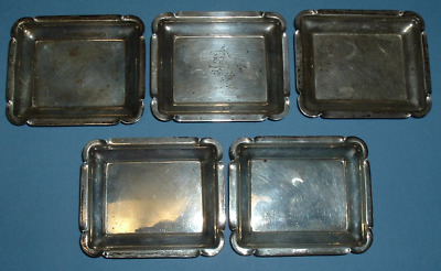 5 STERLING Art Deco Modernism Rectangular Individual ASHTRAYS 109.7 Gr FAST SHIP