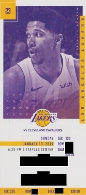 LOS ANGELES LAKERS v CLEVELAND CAVALIERS TICKET 'STUB' 1/13/2019 @ STAPLES CENTR