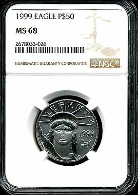 1999 P$50 Platinum 1/2 oz American Eagle MS68 NGC 2678033-026