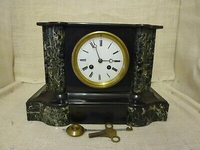 Antique French Marble 8 day mantel clock by Japy Freres