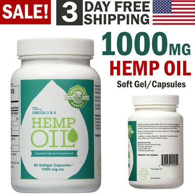 Hemp Seed Oil Capsules 1000mg Pain Anxiety Stress Relief Sleep Aid Joint Support