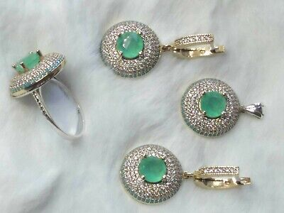 AAA Quality Sterling 925 Silver Jewelry Light Green Chalcedony & Cz Full Set