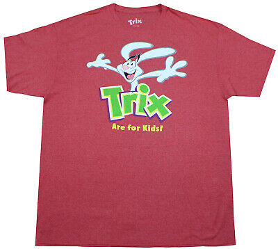 Trix Are For Kids T-Shirt Heather Red Mens Cartoon Cereal Tee New Top