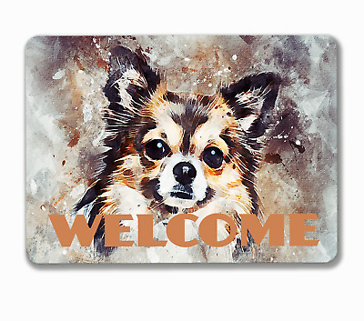 Chihuahua dog welcome house hanging or fixed sign aluminium metal 20 x 15