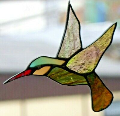 Leaded Glass Window Image Suncatcher Rotschnabel- Kolibri in Tiffany