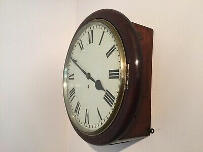 """attractive 12"""" fusee dial clock with mahogany case and cast brass bezel"""