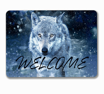 Wolf welcome sign house wall door greeting hanging or fixed aluminium metal