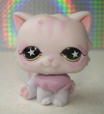 Hasbro Littlest Pet Shop #263 Lilac & Pink Persian Cat Figure with Star Eyes
