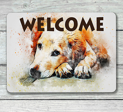 Golden retriever dog welcome house hanging or fixed sign aluminium metal