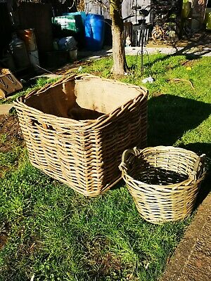 Bamboo Rattan Square Extra Large Log Basket with Wheels + Large kindling Basket.