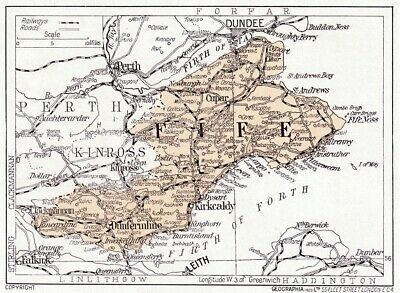 1923 map of Scotland: old Fifeshire, Fife, ready-mounted antique print SUPERB