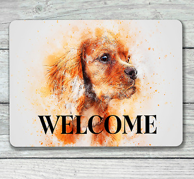 Cocker spaniel sign dog welcome house hanging or fixed aluminium metal 20 x 15