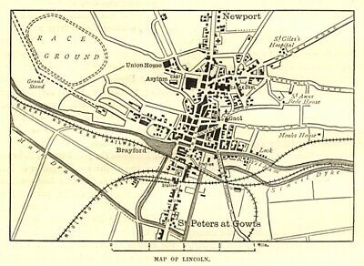 Map of Lincoln centre, antique engraving 1880s