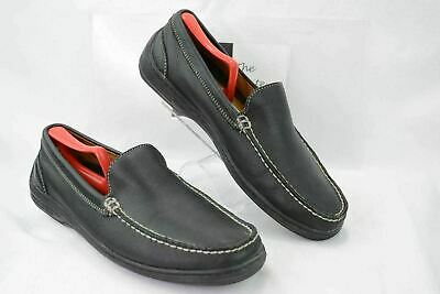 e2659c11a9c TOMMY BAHAMA TB-324 mens 10M Slip On Moc Casual Loafers Shoes Black Leather  Y396