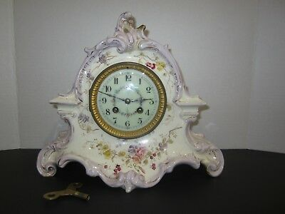 Antique French Marti Et Cie Mantel Clock Porcelain, 8 Day, Time And Strike
