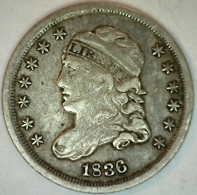 1836 Capped Bust Silver Half Dime United States Type Coin Genuine XF 5c K23