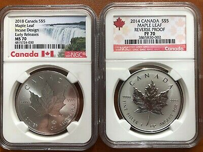 2014/2018 Canada $5 Perfect NGC 70 Reverse Proof and Incuse 2-Coin Set