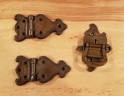 3 Piece Brass Ice Box Set - 2 Antique Hinges & 1 Latch Matching Lot