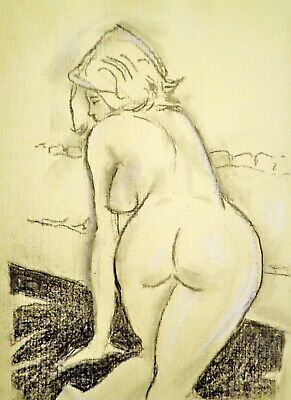 NUDE WOMAN CARTOON charcoal and chalk A4