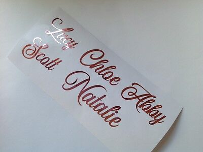 ROSE GOLD Name X 10 Stickers Vinyl Decal Wine Glass Hen Wedding Personalised DIY