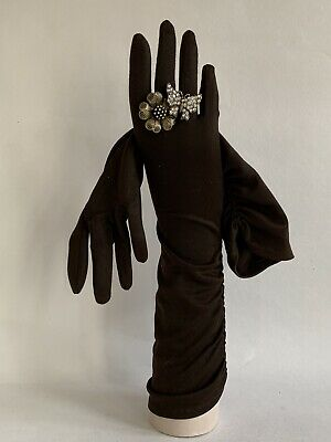 "Vintage 1950s Brown Side Pattern Gathered 15"" Nylon Evening Opera Gloves Size 7"