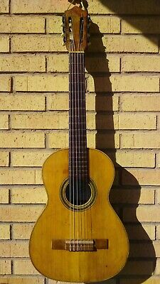 antique spanish guitar Julio Guallar Zaragoza Spain ca.1950,  88 cm. Mahogany