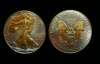 2018 American Silver Eagle 1oz SILVER Coin with 24K GOLD  GILDED, PROOF LIKE :