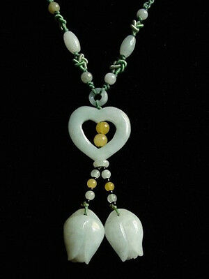 Big Beaded Chain Delicately Carved Jadeite Jade Heart 2 Rose Bud Dangle Necklace