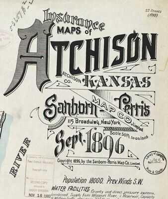 Atchison, Kansas~Sanborn Map© sheets~ with 22 maps in color on a CD~1896 edition