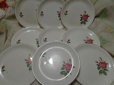 9-  China Dinner Plates ~ Beautiful  Roses ~ Paden City Pottery Co. ~Gold Trim