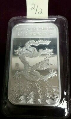 2012 Year of the Dragon 1 Troy Ounce .999 Fine Silver Art Bar (2/2)