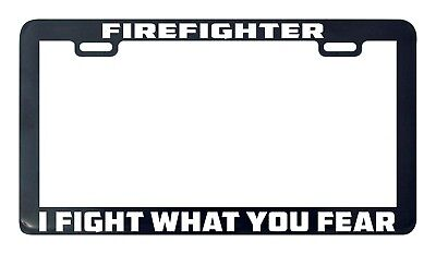 Thin Frame  PROUD GRANDPARENT OF A FIREFIGHTER FIRE FIGHTER License Plate Frame