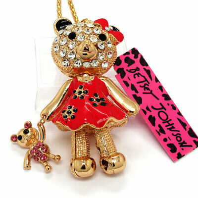 Hot Betsey Johnson Crystal Red Bow bear doll Rhinestone Sweater Necklace