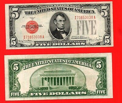 United States 1928 red seal 5 dollar banknote