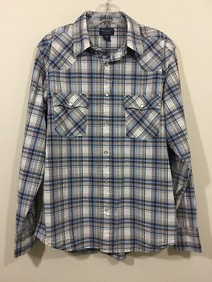 37ef91d00 American Eagle Outfitters Mens Blue Plaid Button Snap Down Shirt Size Medium
